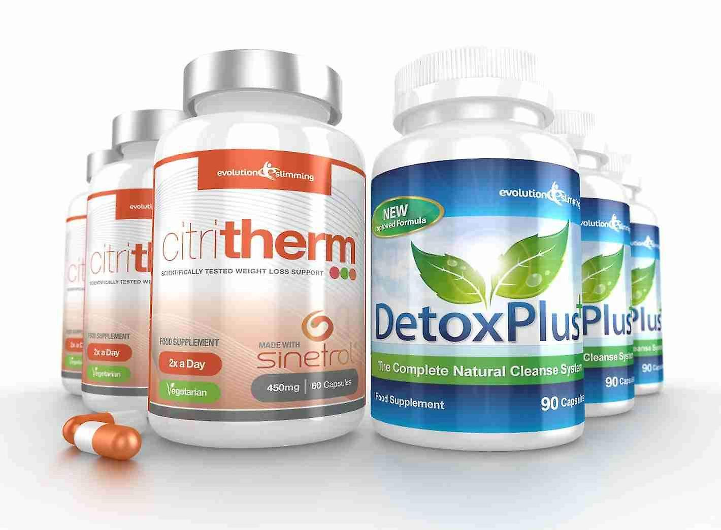 CitriTherm Fat Burner with DetoxPlus Combo - 3 Month Supply - Fat Burning and Colon Cleansing - Evolution Slimming