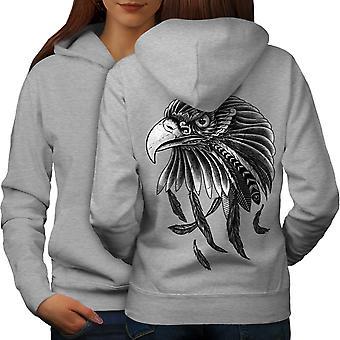 Indio águila mujeres GreyHoodie respaldo | Wellcoda