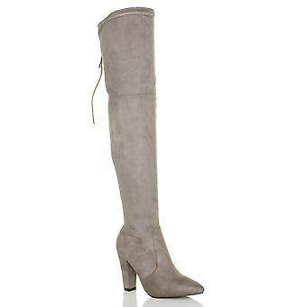 Ajvani womens bloco alta calcanhar zip do laço para trás sobre o joelho apontado botas