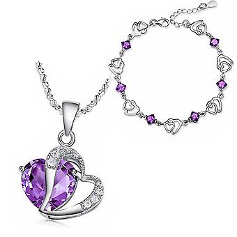 Womens Girls Love Heart Necklace and Bracelet Set Purple Stone