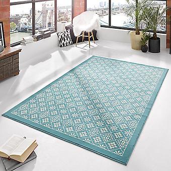 Designer velour carpet tile Blau cream | 102423
