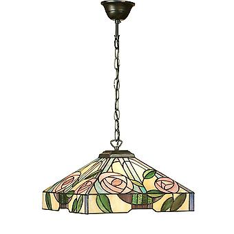 Interiors 1900 Willow Pink Rose Tiffany Small Square Ceiling Pendant