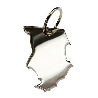 Trailer map Chad pendant in solid 925 Silver
