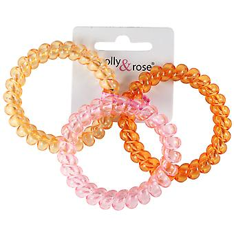Molly & Rose Large Plastic Spiral Hair Bobble Orange, Pink & Yellow 3 Pack