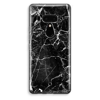 HTC U12 + gennemsigtig sag (Soft) - sort marmor 2