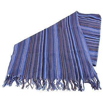 Bassin og brun Beagrie store stribe uld tørklæde - blå/Navy