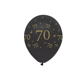 Creative Party Black All Round Print Latex Balloons (Pack of 6)