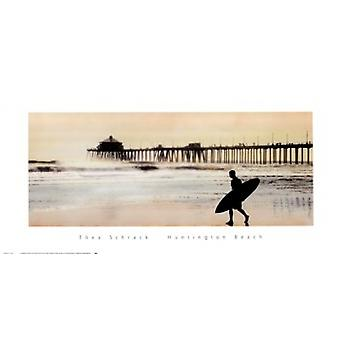Surfer at Huntington Beach Poster Print by Thea Schrack (24 x 12)