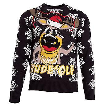 Brave Soul Mens 'Rude'olf Knitted Christmas Jumper
