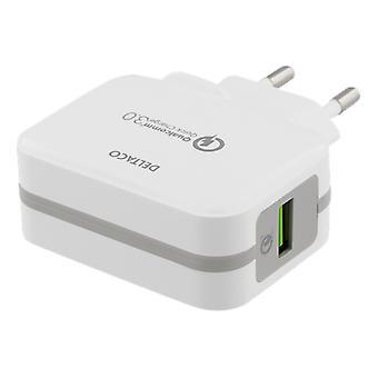 DELTACO USB încărcător de perete, Qualcomm Quick Charge 3,0, 19.5 W
