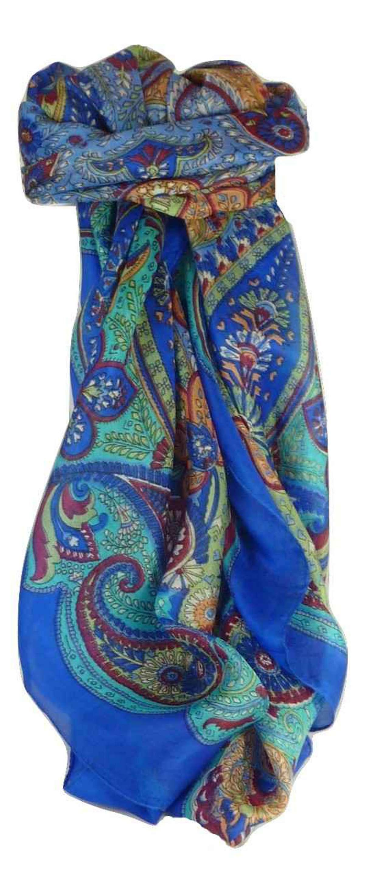 Mulberry Silk Traditional Square Scarf Zyan Blue by Pashmina & Silk