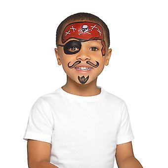海賊キット色とりどり、トリオ/ダブル鍋スポンジ ブラシ/ステッカー、Facepaint