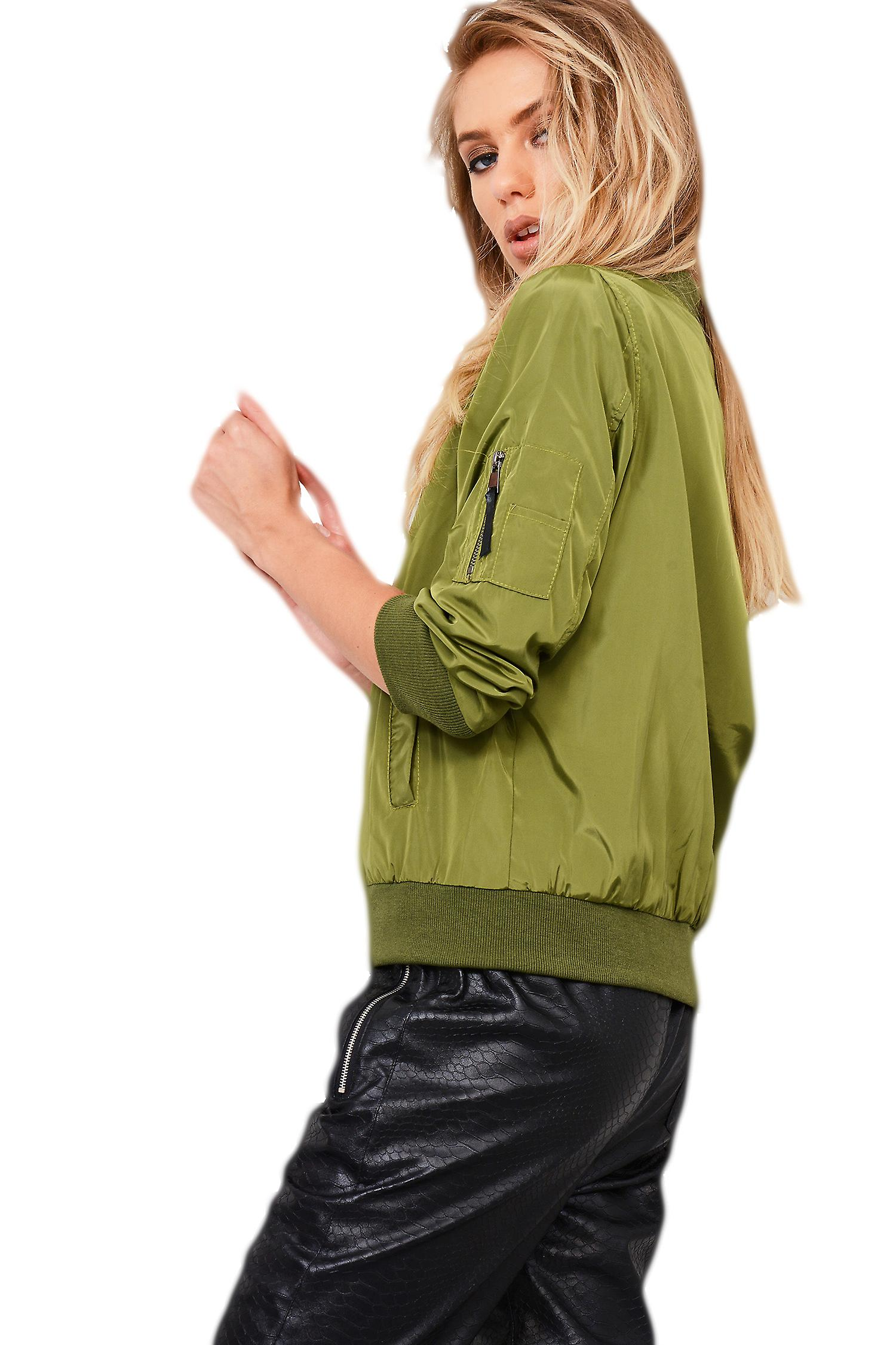 Lovemystyle Casual Green Bomber Jacket Featuring Pockets