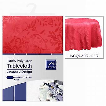60X90Inches ovale nappe Polyester Cover Design Jacquard rouge
