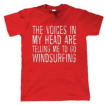 Voices In My Head Go Windsurfing, Mens Funny T Shirt - Gift Him