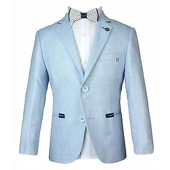 Boys Summer Ice Blue Linen Blazer Jacket