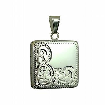 Silber 22mm handgravierte halbe quadratische Medaillon