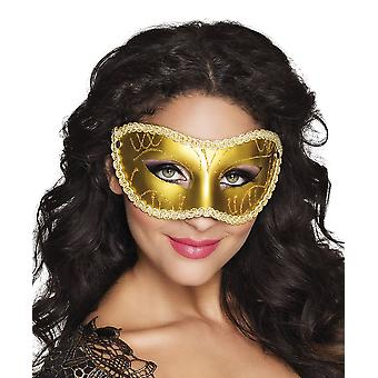 Womens Gold Eye Mask Carnival Fancy Dress Accessory