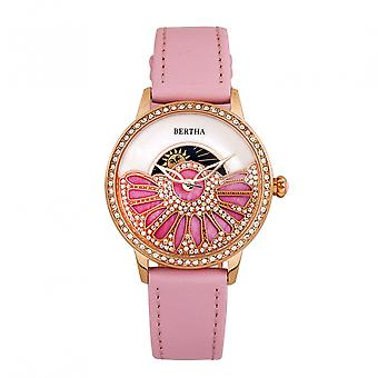 Bertha Adaline Mother-Of-Pearl Leather-Band Watch - Pink