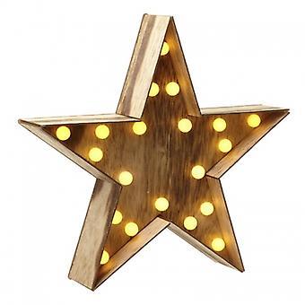 Heaven Sends Light Up Wooden Christmas Star Decoration