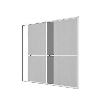 Podwójne drzwi przesuwne moskitiera drzwi zestaw ochrony owadów 240 x 240 cm w kolorze brązowym