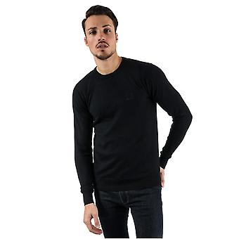 Mens Bench Cotton Fine Gauge Crew Knit In Black- Ribbed Cuffs, Collar And Hem-