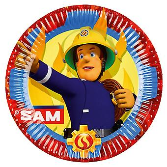 Brannmann Sam 8 papp plate 23 cm brannmann Sam samparty barnas bursdag