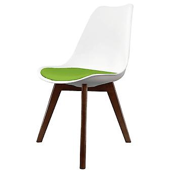 Fusion Living Eiffel Inspired White And Green Dining Chair With Squared Dark Wood Legs