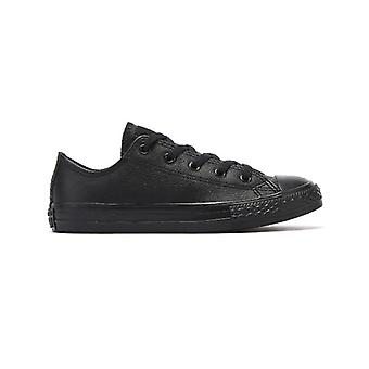 Converse All Star Ox Youth Black Mono Leder Trainer