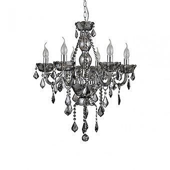 Premier Home Murano Smoked Chrome/ Crystal Chandelier, Chrome, Verre, Fer, Cristal K9, Argent