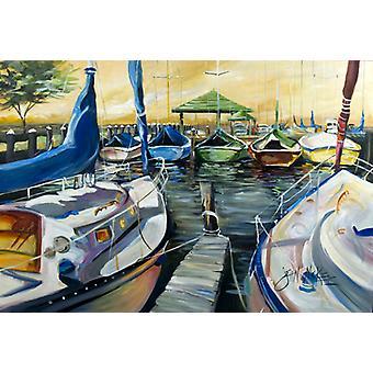 Carolines Treasures  JMK1075PLMT Seven Boats Sailboats Fabric Placemat
