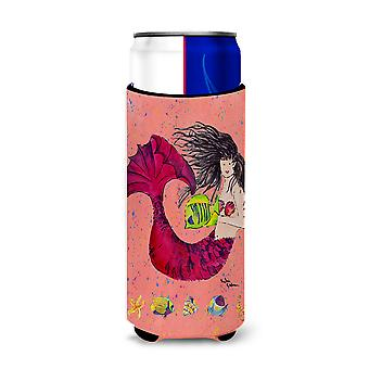 Black haired Mermaid on Red Ultra Beverage Insulators for slim cans 8338MUK
