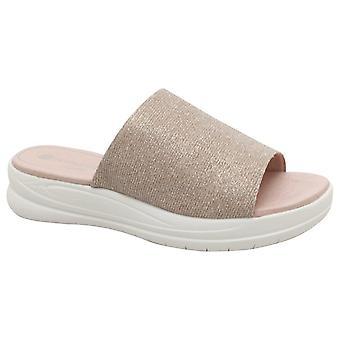 Remonte Flatform Slide op Rose Shimmer sandaal