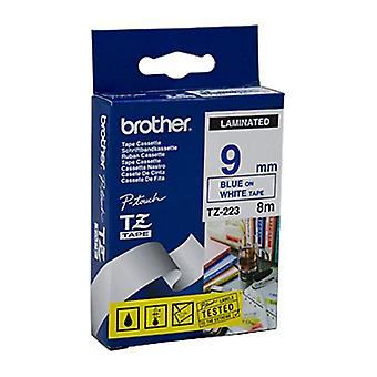 Brother TZe223-tarra nauha sininen valkoisella teipillä