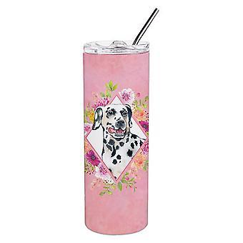 Далматинский Розовые Цветы Двойная Стена Нержавеющая Сталь 20 унций Тощий Тумблер
