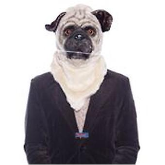 Pug hond masker met beweegbare snuit heren kostuum