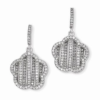 925 Sterling Silver Rhodium plated and CZ Cubic Zirconia Simulated Diamond Brilliant Embers Flower Dangle Post Earrings
