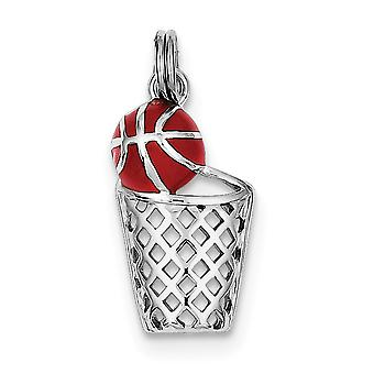 925 Sterling Silver Polished Split Ring Enamel Basketball and Hoop Charm Jewelry Gifts for Women