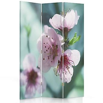 Room Divider, 3 Panels, Double-Sided, Rotatable 360, Canvas, Cherry Blossom
