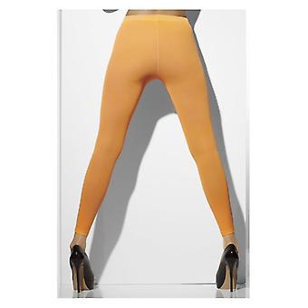 Womens Neon Orange opak Footless Tights Fancy Dress Zubehör