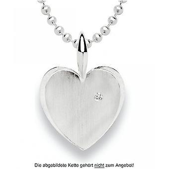 باستيان inverun - قلادة فضية في شكل قلب مع الماس 0.02 قيراط - 21360
