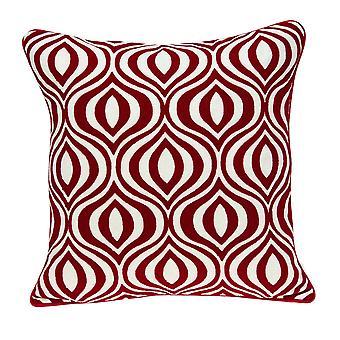 """20"""" x 7"""" x 20"""" Cubierta de almohada roja y blanca de transición con inserción de polietileno"""