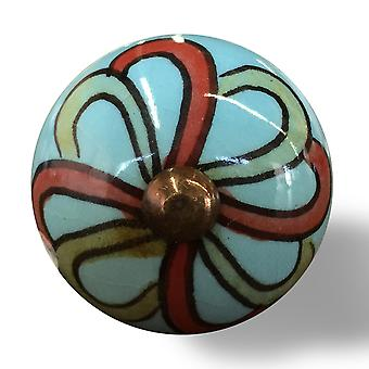 Bohemian Turquoise and Red Set of 12 Knobs