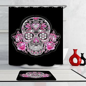 Roze schedel douche gordijn