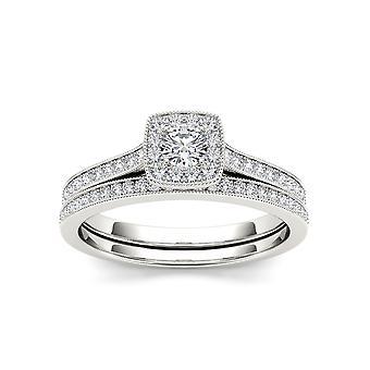 Igi gecertificeerd s925 zilver 0.50ct tdw natuurlijke diamant halo bruidsset