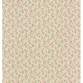 Fine Decor Pink Rose Thorns Flower Dollhouse Wallpaper Cream Floral