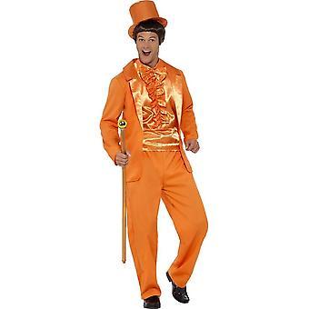 90s dum Dress drakt, Orange, med jakke, bukser, Mock skjorte & lue