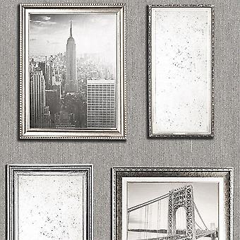 New York City Photo Frame Wallpaper Silver Grey Embossed Glitter Vintage Vinyl