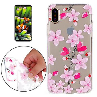For iPhone XS,X Case,Elegant Flowers High-Qualtiy Durable Protective Cover,Pink
