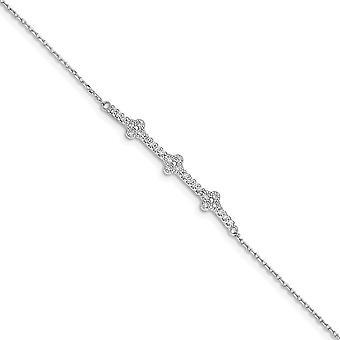 925 Sterling hopea rhodium kullattu CZ Cubic Zirkonia Simuloitu Diamond 1,25 tuuman Ext. Rannekoru 6 tuumaa
